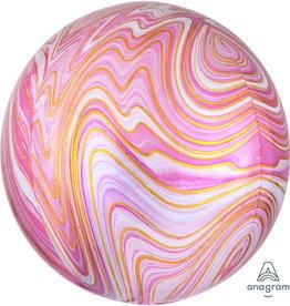 """Pink Marblez 16"""" Orbz Mylar Balloon"""