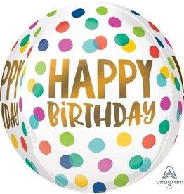 Happy Dots Birthday Orbz Mylar Balloon
