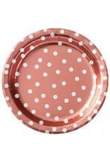 "8 1/2"" Round Plates Metallic Confetti Dot - Rose Gold"