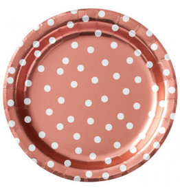 "8 1/2"" Round Plates Metallic Confetti Dot - Rose Gold"