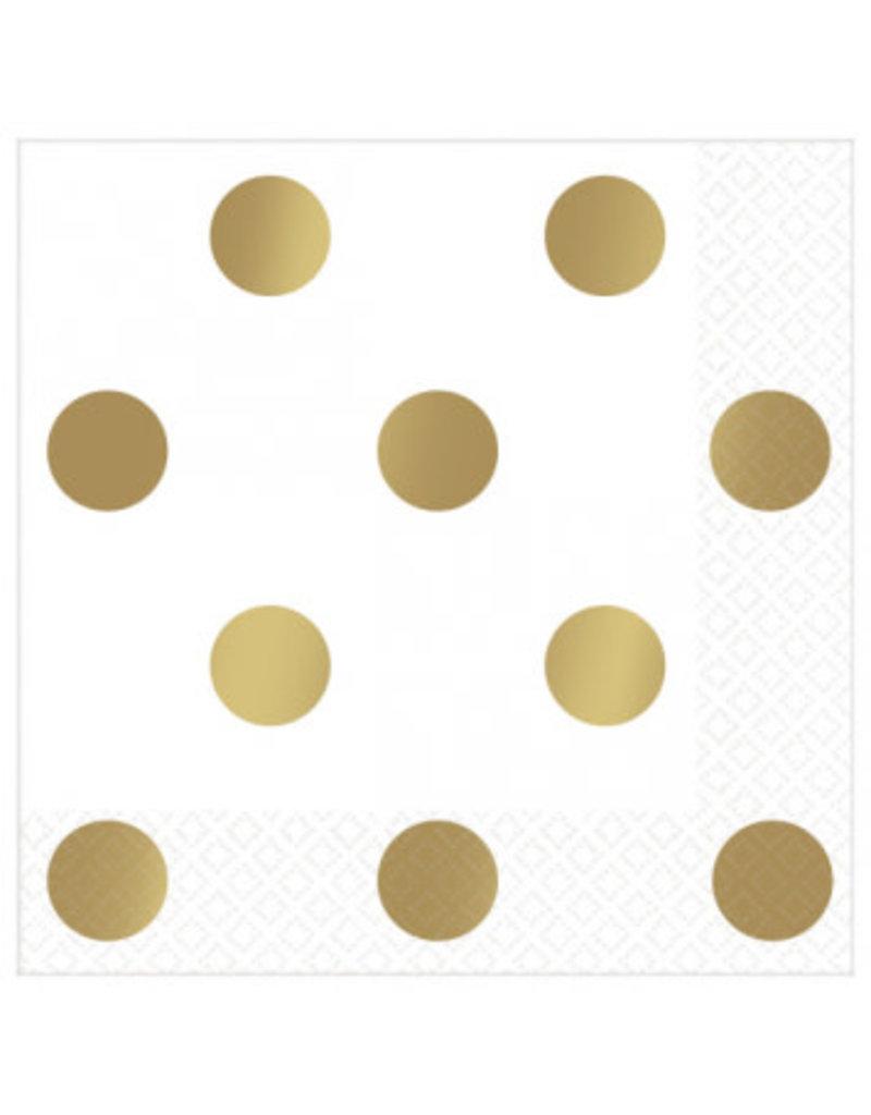 Beverage Napkins Metallic Dots - Gold