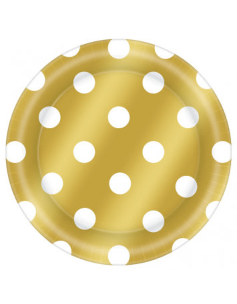 "6 3/4"" Round Plates Metallic Dot - Gold"