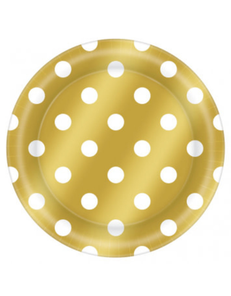 "8 1/2"" Round Plates Metallic Dot - Gold (8)"