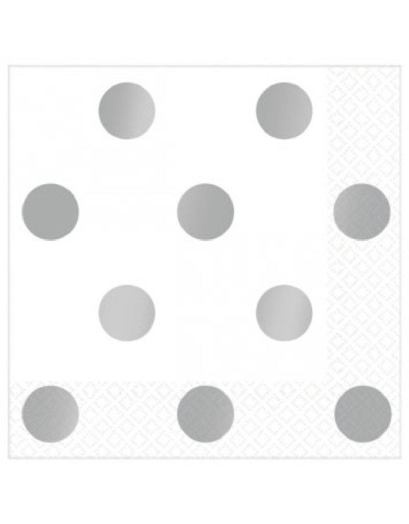 Beverage Napkins Metallic Dots - Silver (16)