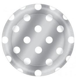 """6 3/4"""" Round Plates Metallic Dot - Silver"""