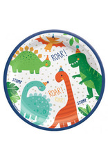 "Dino-Mite 7"" Round Plates (8)"