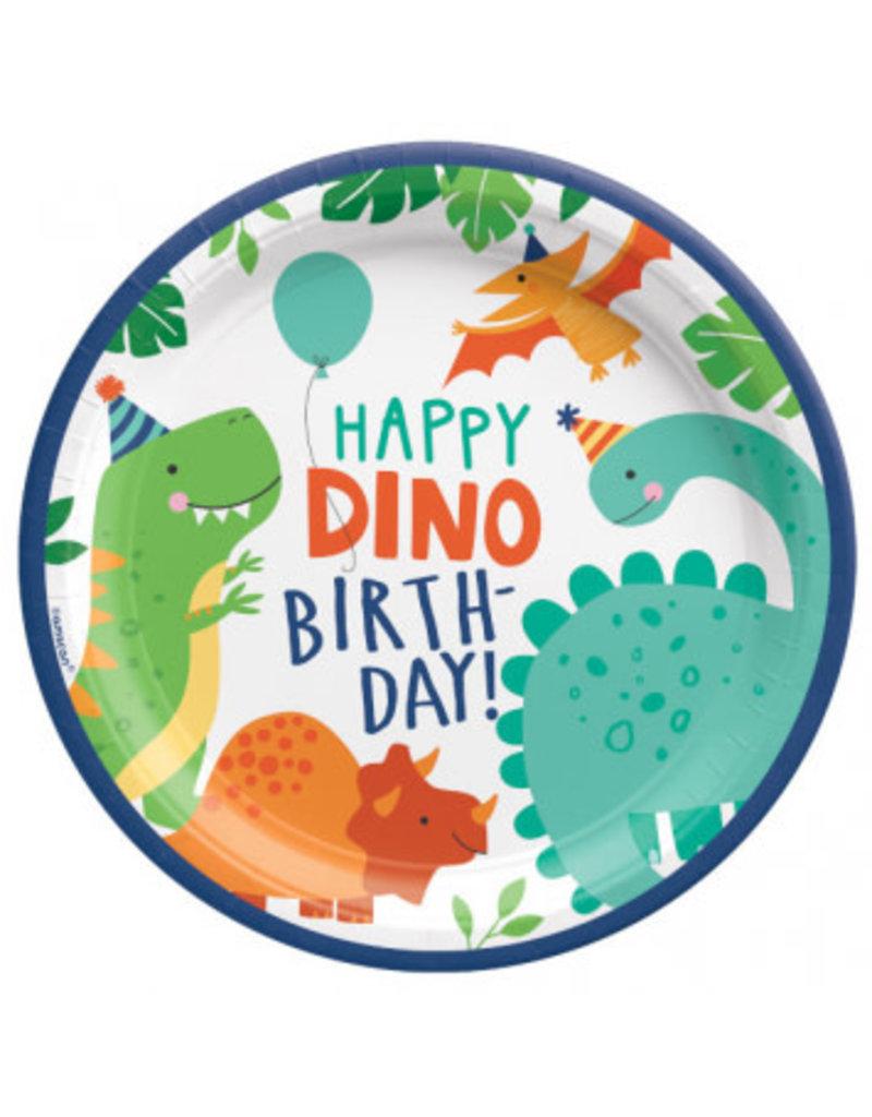"Dino-Mite 9"" Round Plates (8)"