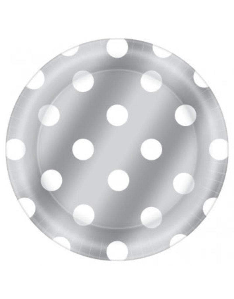 """8 1/2"""" Round Plates Metallic Dot - Silver"""