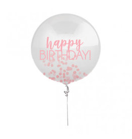 """24"""" Happy Birthday Pink Printed Latex Balloon with Confetti"""
