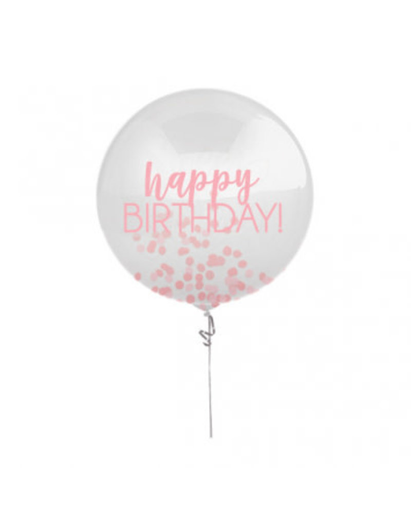 "24"" Happy Birthday Pink Printed Latex Balloon with Confetti"