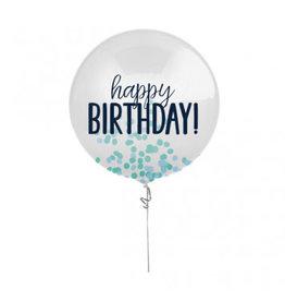 "24"" Happy Birthday Blue Printed Latex Balloon with Confetti"