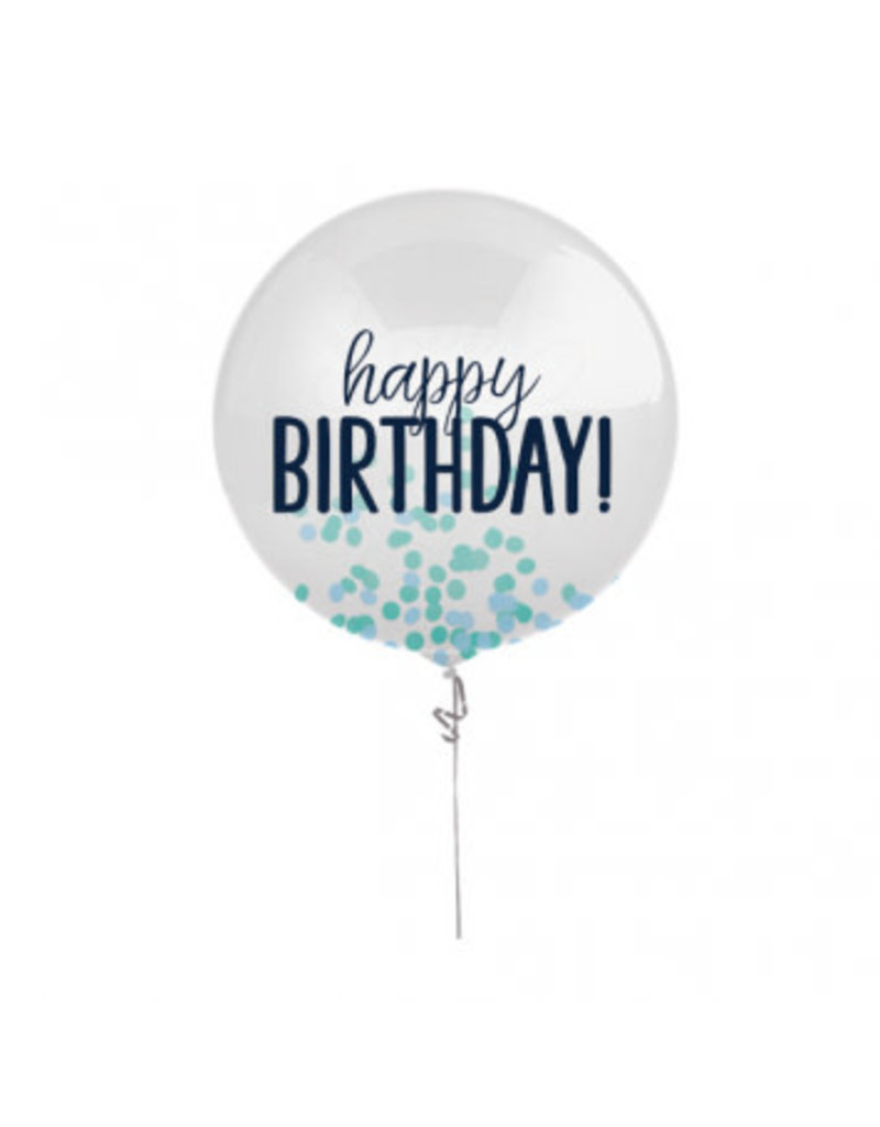 "24"" Happy Birthday Blue Printed Latex Balloon with Confetti"