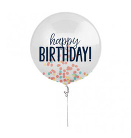 "24"" Happy Birthday Rainbow Printed Latex Balloon with Confetti"