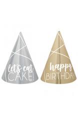 Birthday Silver & Gold Mini Cone Hats (12)