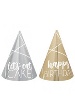Birthday Silver & Gold Mini Cone Hats
