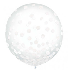 "24"" Latex Balloons w/ Confetti, -White Tissue"