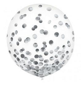 """24"""" Latex Balloons w/ Confetti, -Silver Foil"""