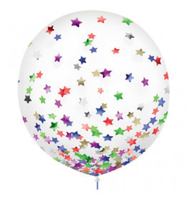 "24"" Latex Balloons w/ Confetti, -Stars, Multi"
