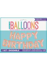 Rose Gold Happy Birthday Balloon Banner