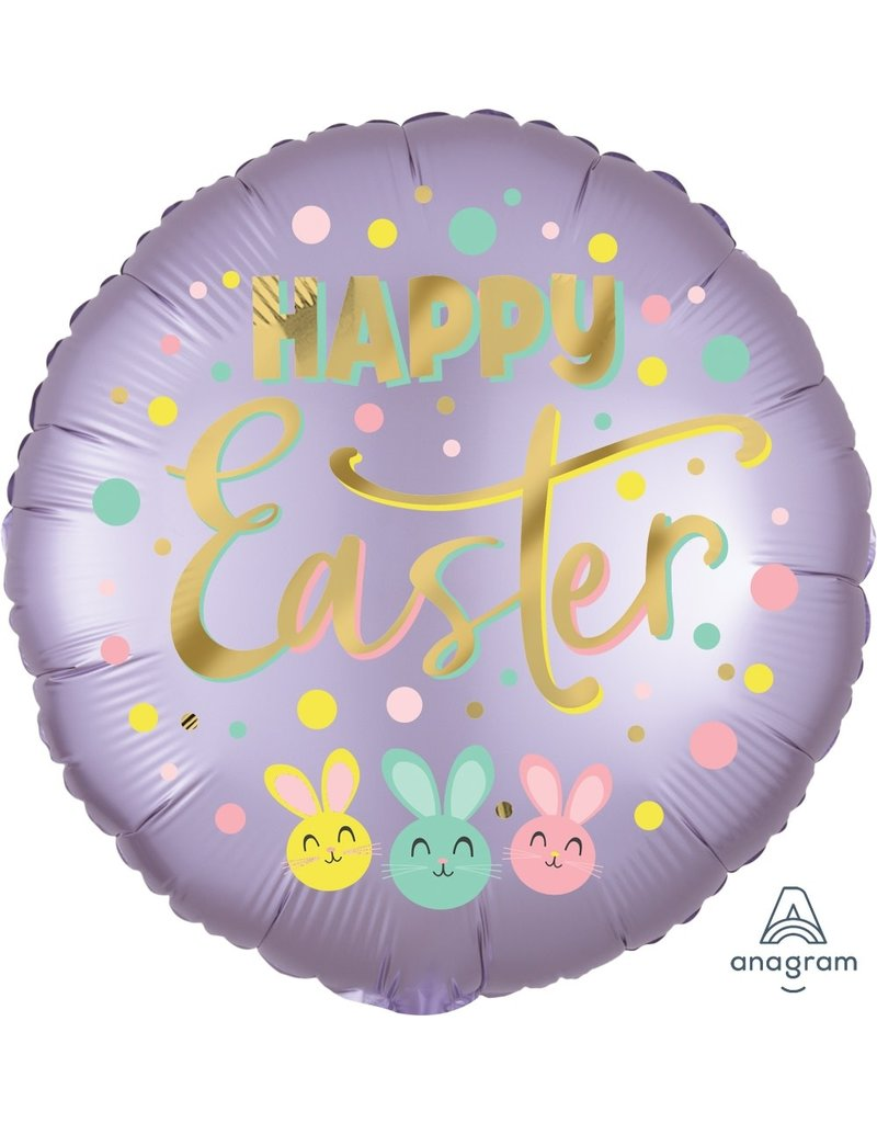 "Satin Bunny Trio Happy Easter 18"" Mylar Balloon"
