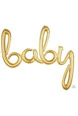 Air-Filled Gold Baby Script Balloon