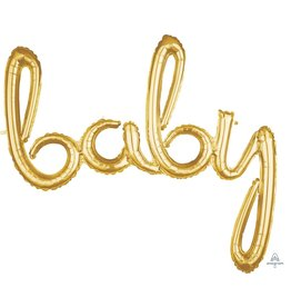 Air-Filled Gold Baby Script Balloon