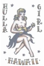 Vintage Temporary Tattoo 1950s Hula Girl