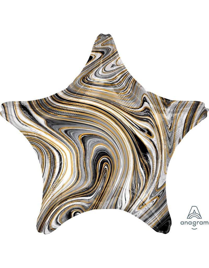 "Marblez Black Gold Star  18"" Mylar Balloon"