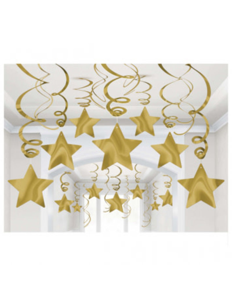Gold Shooting Star Mega Value Pack Swirl Decorations