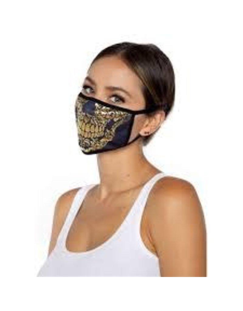 Gold Foil Skull Cloth Mask