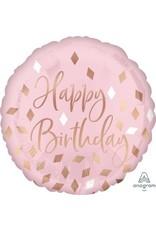 Blush Happy Birthday Mylar Balloon