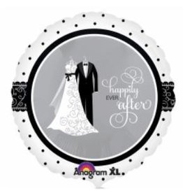 "Black and White Wedding 18"" Mylar Balloon"