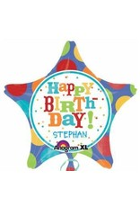 "Birthday Fever Fun Star Personalize It 18"" Mylar Balloon"