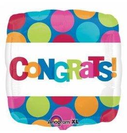 "Congrats Dots 18"" Mylar Balloon"