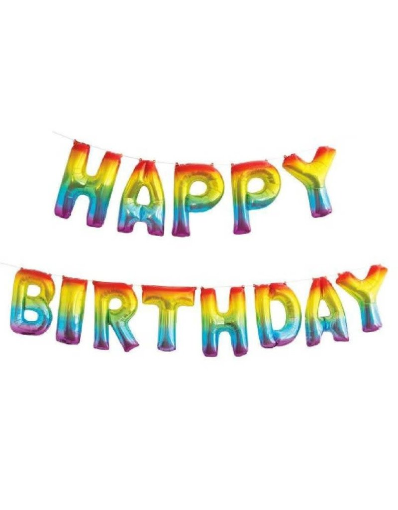 Rainbow Happy Birthday Balloon Banner