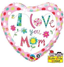 "Love You Mom Flowers 18"" Mylar Balloon"
