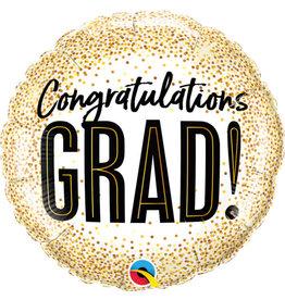 """Grad Gold Glitter Dots 18"""" Mylar Balloon"""