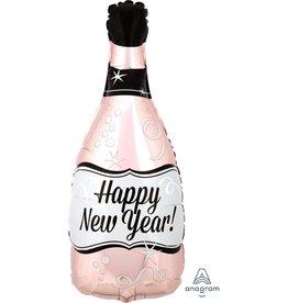 "Happy New Year Rose Gold Bottle 26"" Mylar Balloon"