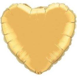 """Gold Heart 18"""" Mylar Balloon"""