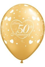 "11"" Gold 50th Anniversary Balloon Uninflated"