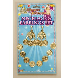 Gold Coin Earrings and Neckalce Set