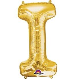Gold Letter I Mylar Balloon