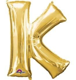Gold Letter K Mylar Balloon