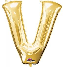 Gold Letter V Mylar Balloon