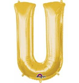 Gold Letter U Mylar Balloon