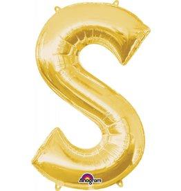 Gold Letter S Mylar Balloon