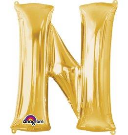 Gold Letter N Mylar Balloon