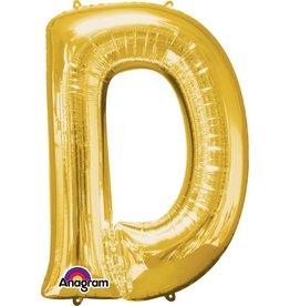 Gold Letter D Mylar Balloon
