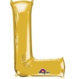 Gold Letter L Mylar Balloon