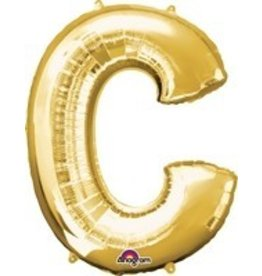 Gold Letter C Mylar Balloon